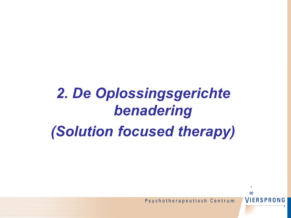 2. De Oplossingsgerichte benadering (Solution focused therapy)