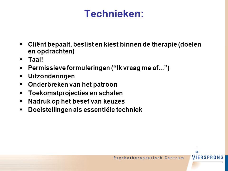 Technieken: Cliënt bepaalt, beslist en kiest binnen de therapie (doelen en opdrachten) Taal! Permissieve formuleringen ( Ik vraag me af... )