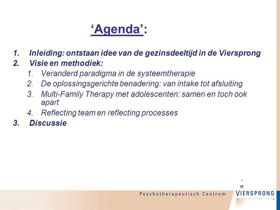 'Agenda': Inleiding: ontstaan idee van de gezinsdeeltijd in de Viersprong. Visie en methodiek: Veranderd paradigma in de systeemtherapie.