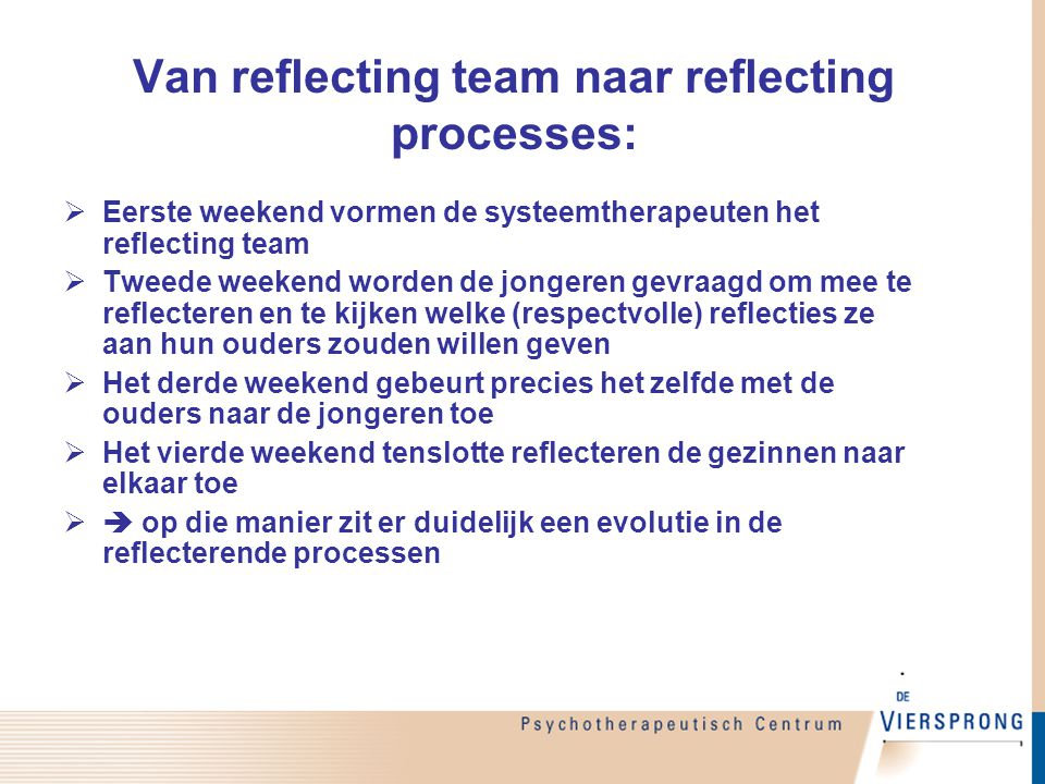 Van reflecting team naar reflecting processes: