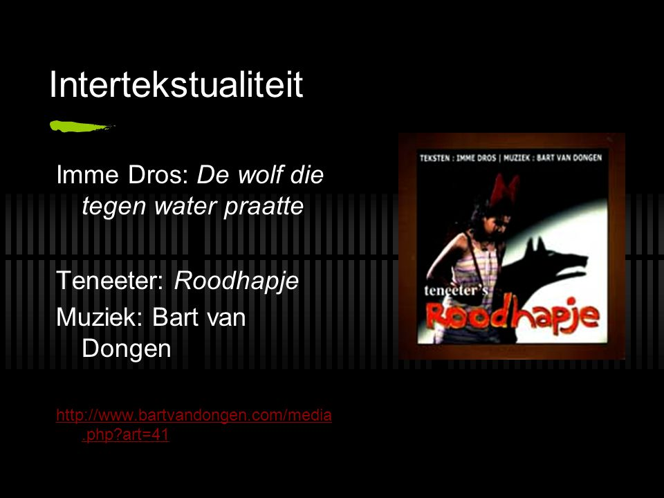 Intertekstualiteit Imme Dros: De wolf die tegen water praatte