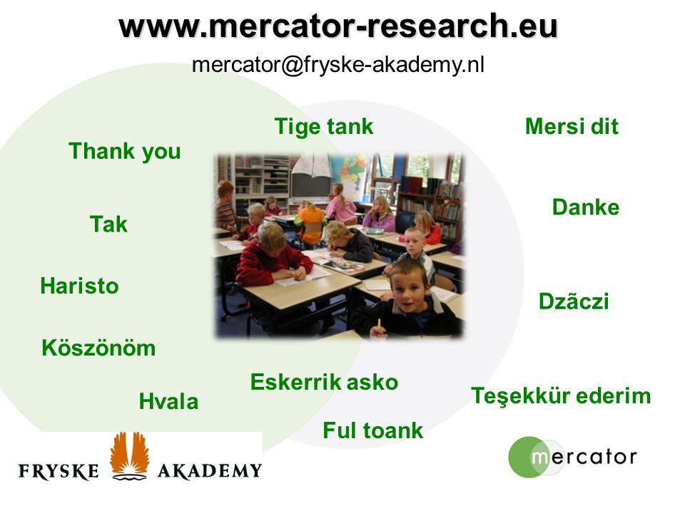 www.mercator-research.eu mercator@fryske-akademy.nl Tige tank