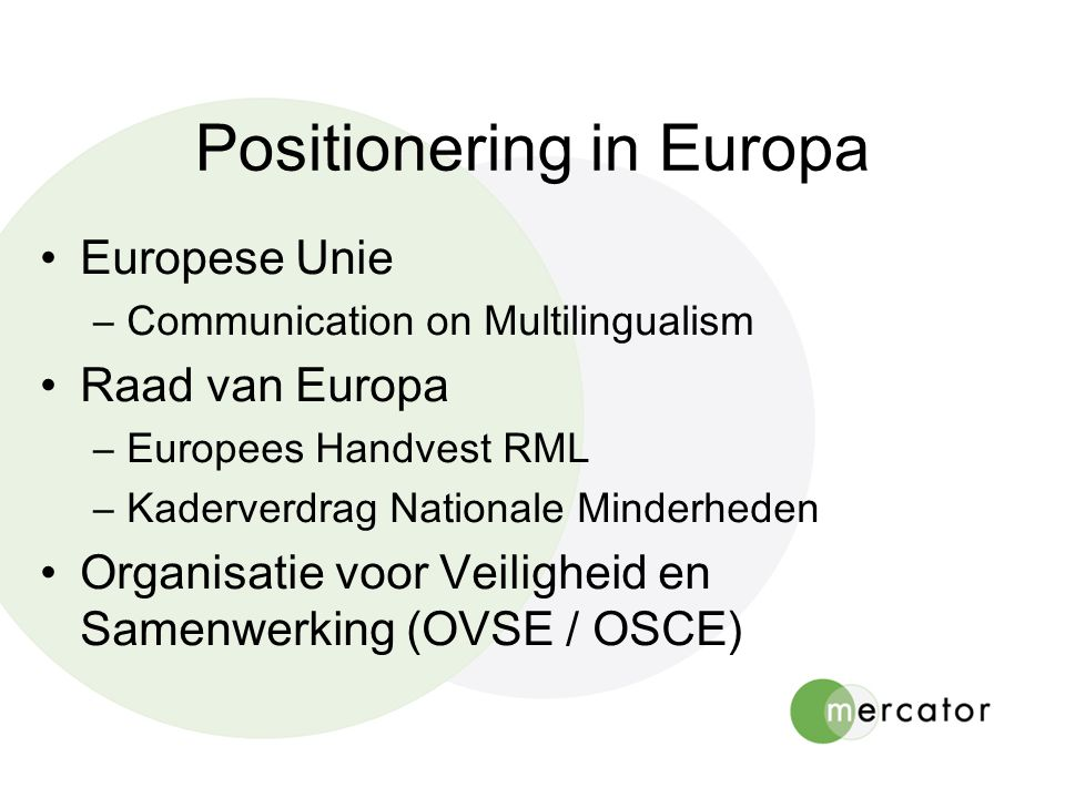 Positionering in Europa