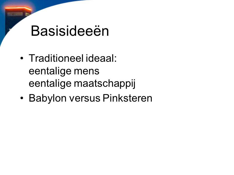 Basisideeën Traditioneel ideaal: eentalige mens eentalige maatschappij