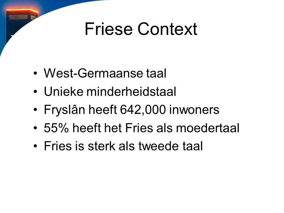 Friese Context West-Germaanse taal Unieke minderheidstaal