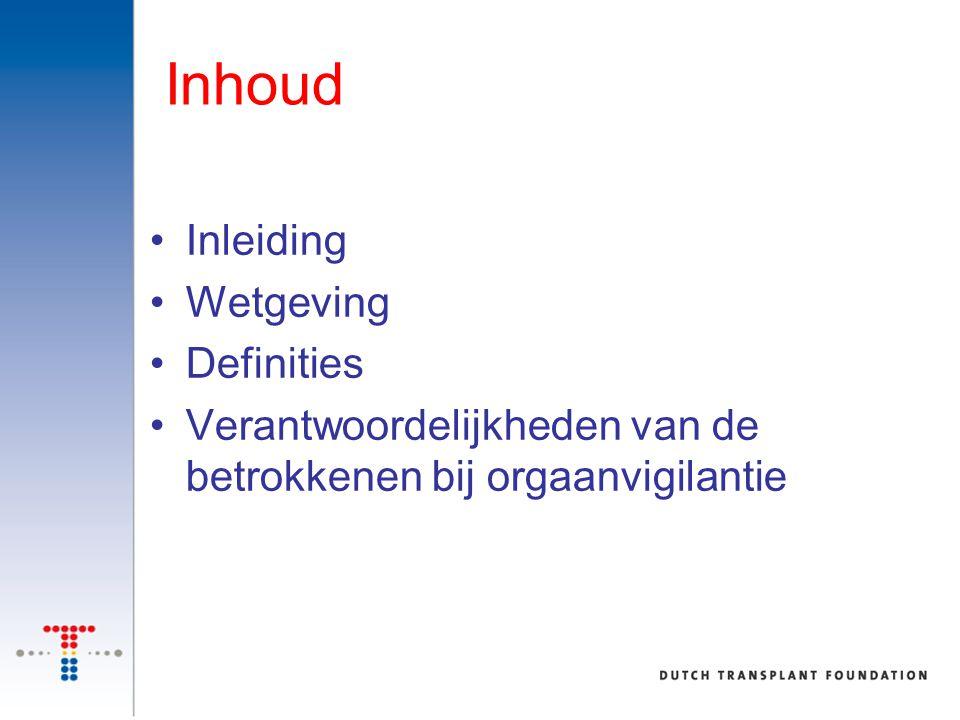 Inhoud Inleiding Wetgeving Definities