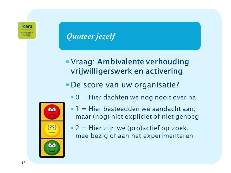 Quoteer jezelf Vraag: Ambivalente verhouding vrijwilligerswerk en activering. De score van uw organisatie