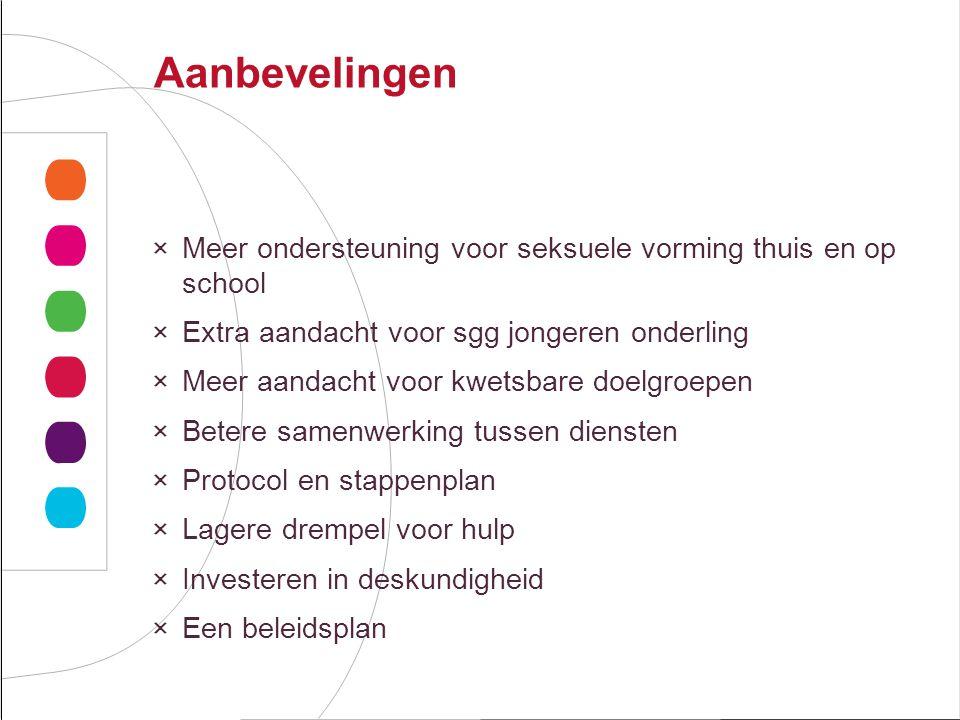 Aanbevelingen Meer ondersteuning voor seksuele vorming thuis en op school. Extra aandacht voor sgg jongeren onderling.