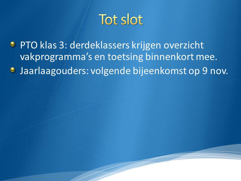 Tot slot PTO klas 3: derdeklassers krijgen overzicht vakprogramma's en toetsing binnenkort mee.