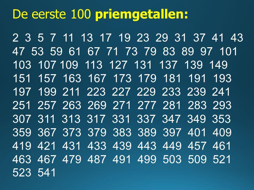 De eerste 100 priemgetallen: