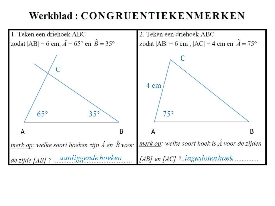 75° 4 cm C C 65° 35° aanliggende hoeken ingesloten hoek