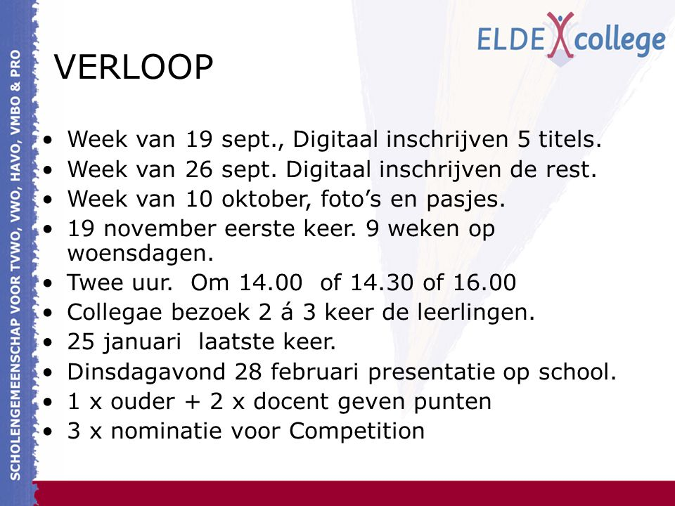 VERLOOP Week van 19 sept., Digitaal inschrijven 5 titels.