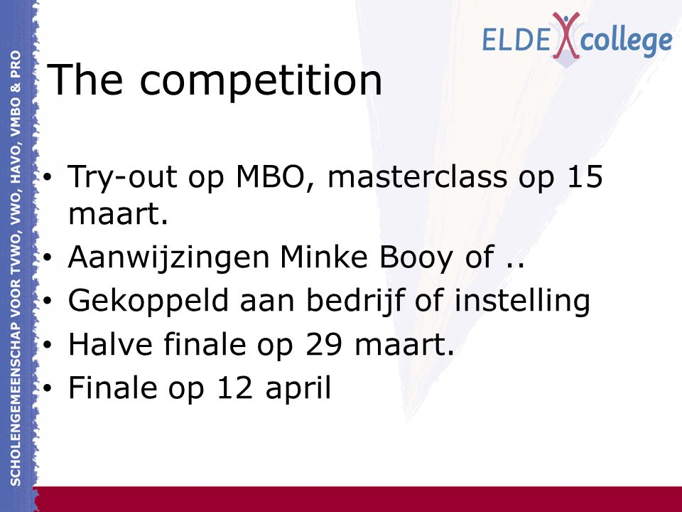 The competition Try-out op MBO, masterclass op 15 maart.