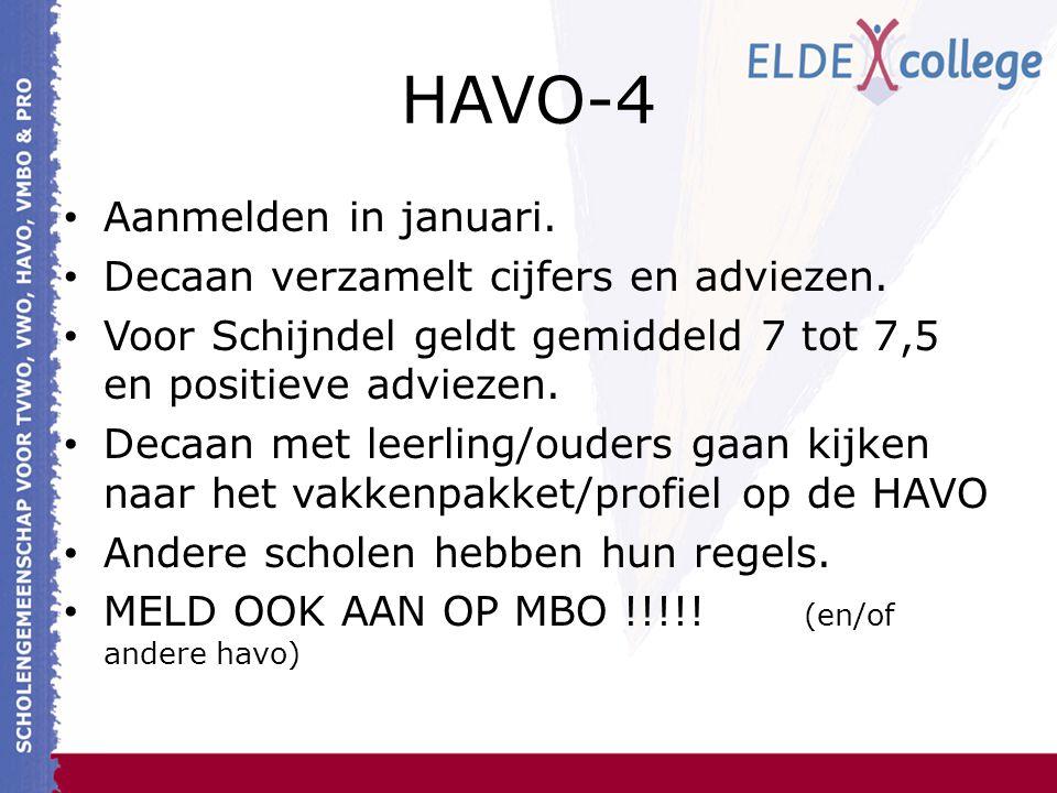 HAVO-4 Aanmelden in januari. Decaan verzamelt cijfers en adviezen.