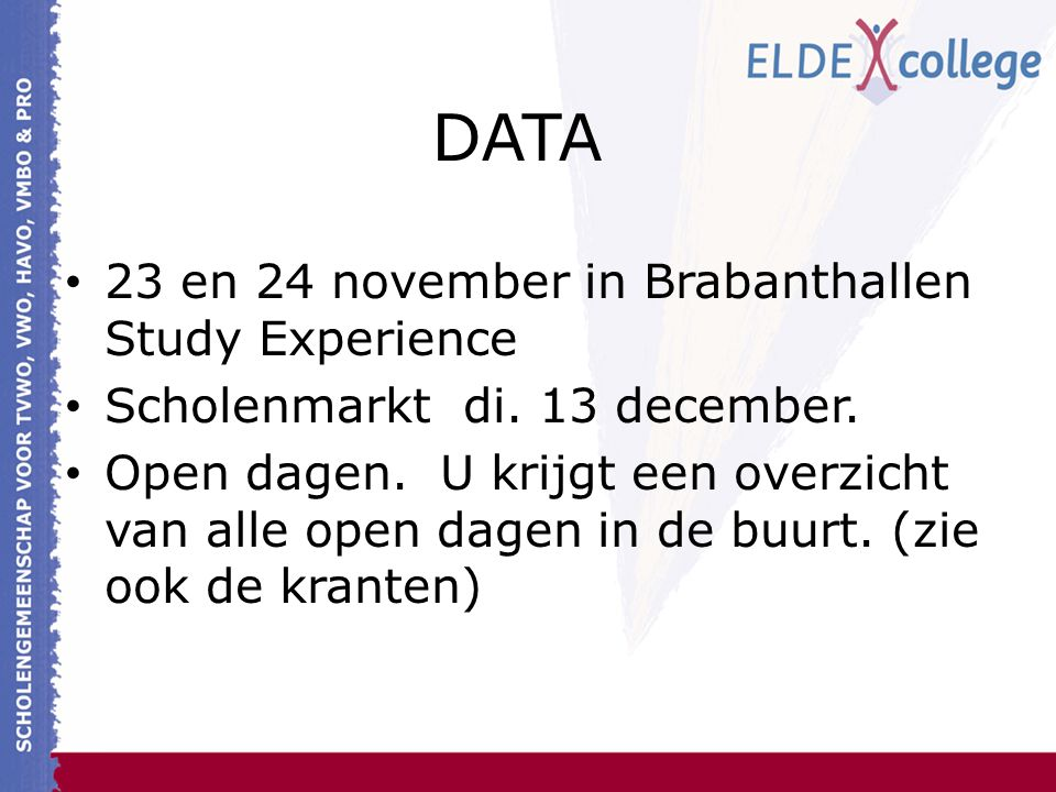DATA 23 en 24 november in Brabanthallen Study Experience
