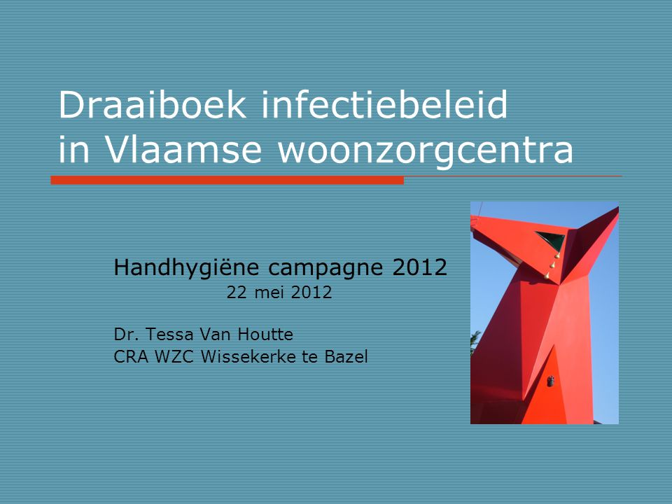 Draaiboek infectiebeleid in Vlaamse woonzorgcentra