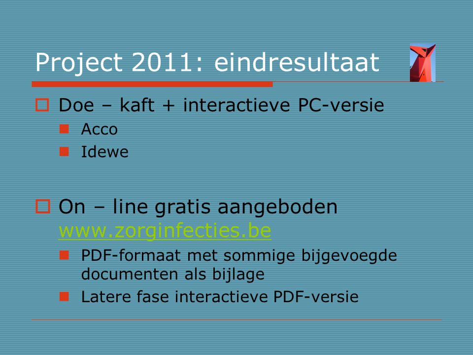Project 2011: eindresultaat