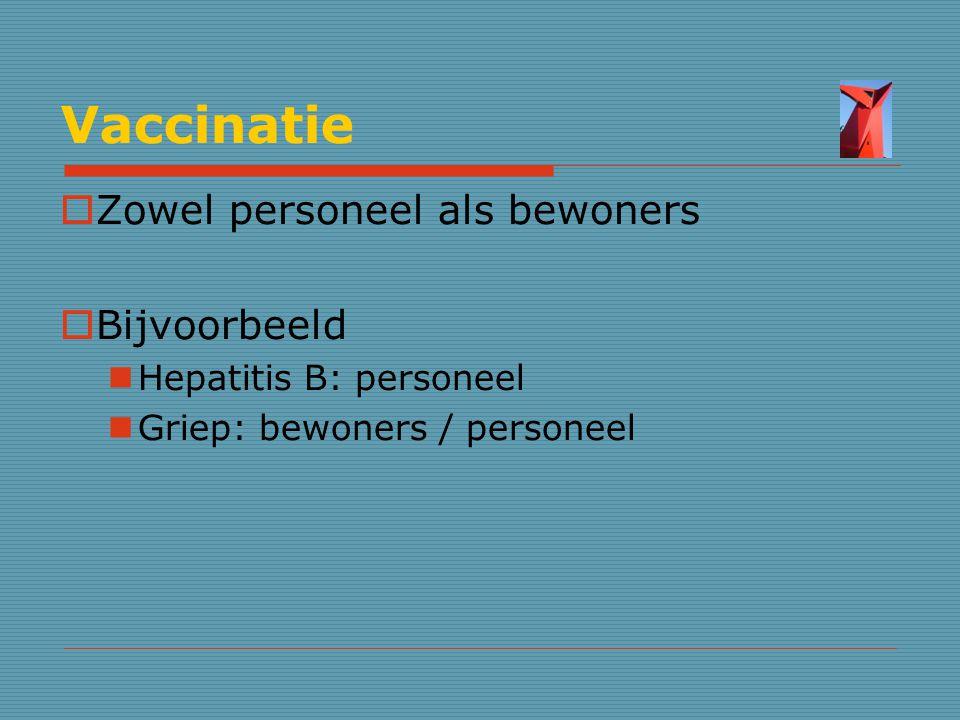 Vaccinatie Zowel personeel als bewoners Bijvoorbeeld