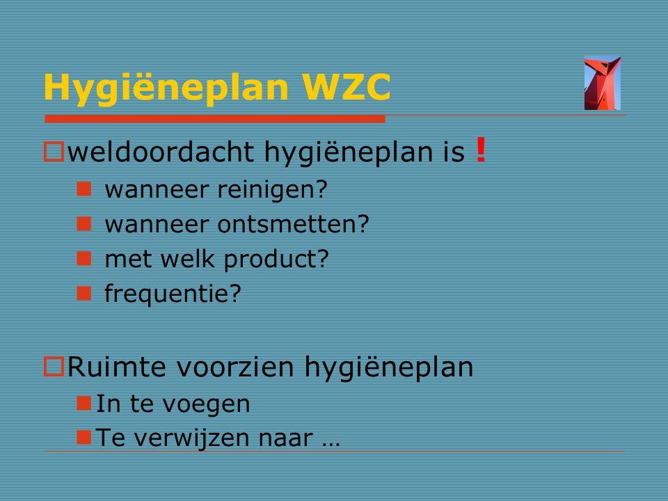Hygiëneplan WZC weldoordacht hygiëneplan is !