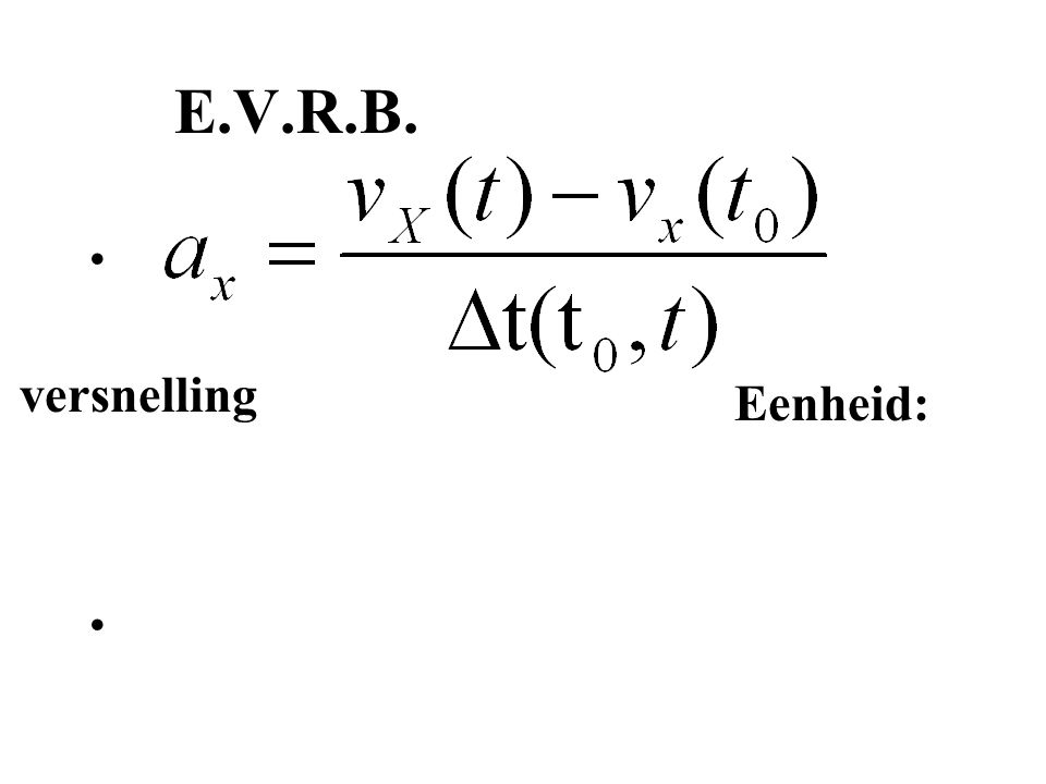 E.V.R.B. versnelling Eenheid: