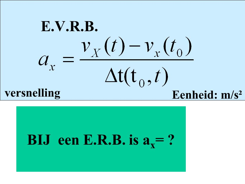 E.V.R.B. versnelling Eenheid: m/s² BIJ een E.R.B. is ax=