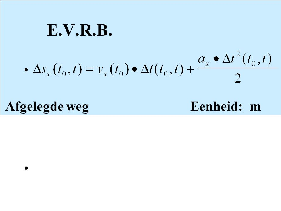 E.V.R.B. Afgelegde weg Eenheid: m