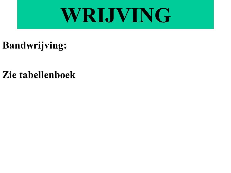 Bandwrijving: Zie tabellenboek