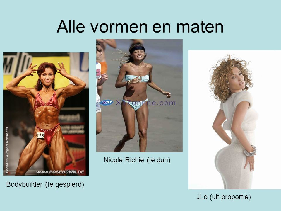 Alle vormen en maten Nicole Richie (te dun) Bodybuilder (te gespierd)