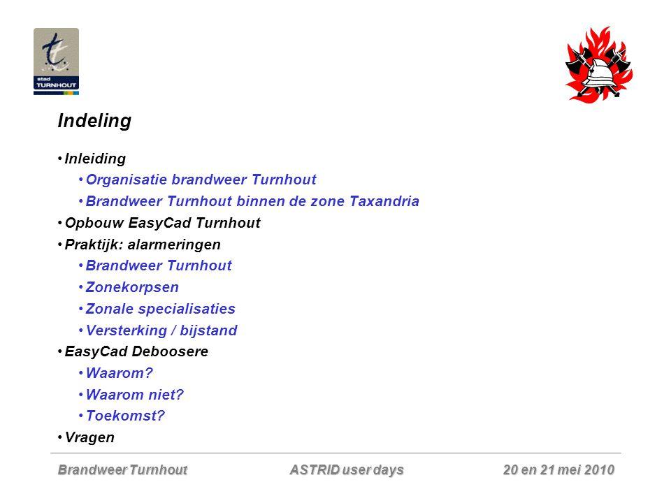 Indeling Inleiding Organisatie brandweer Turnhout
