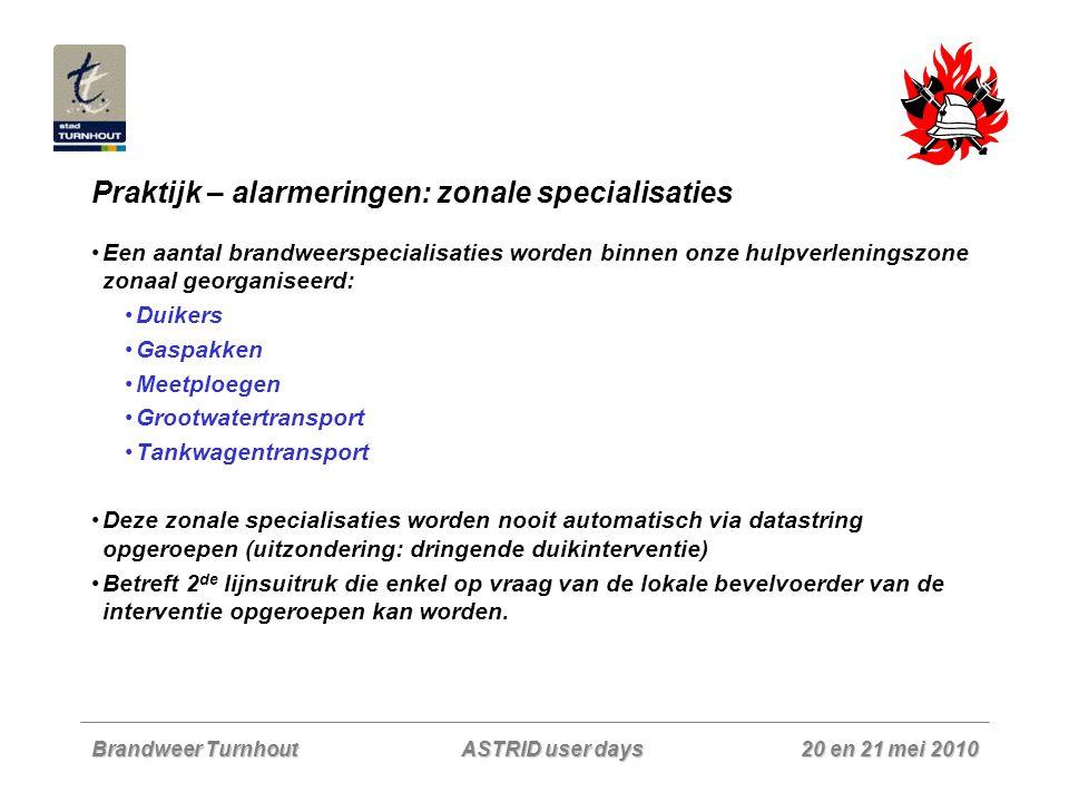 Praktijk – alarmeringen: zonale specialisaties