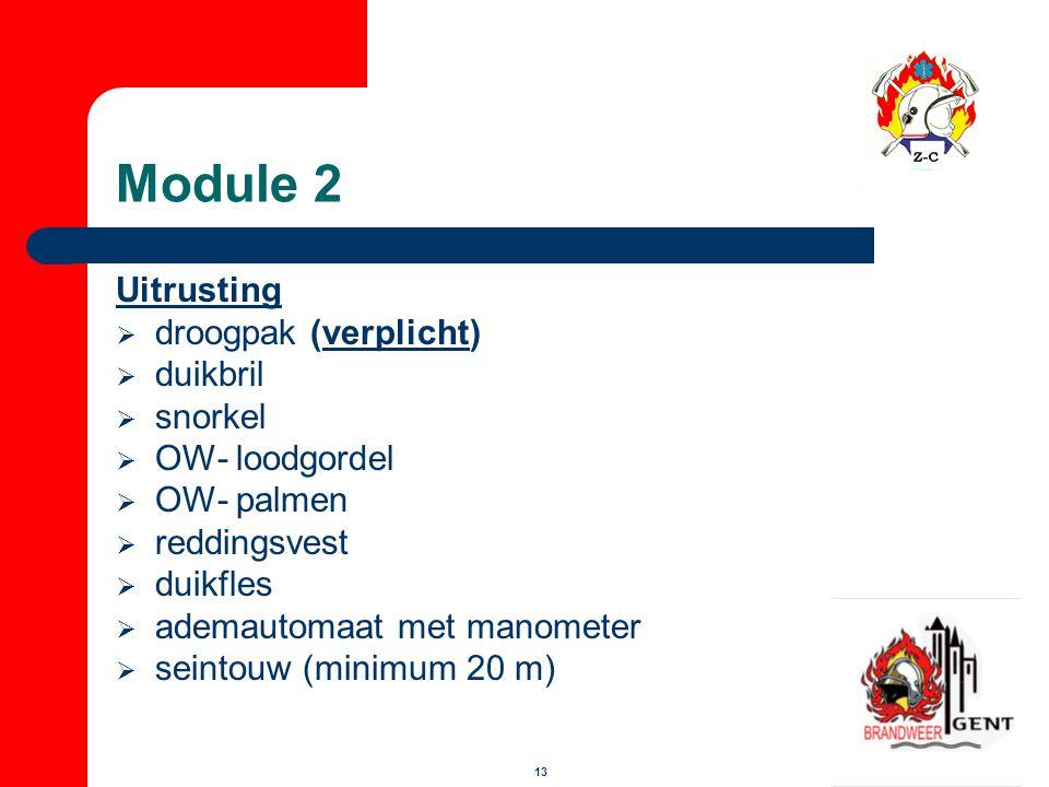 Module 2 Uitrusting droogpak (verplicht) duikbril snorkel