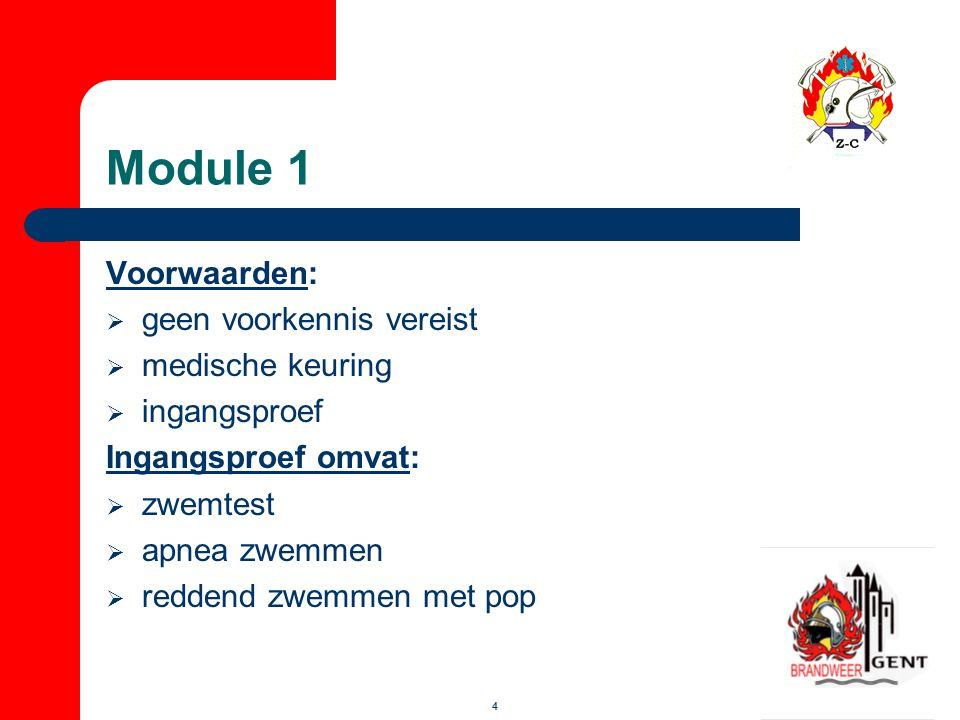 Module 1 Voorwaarden: geen voorkennis vereist medische keuring