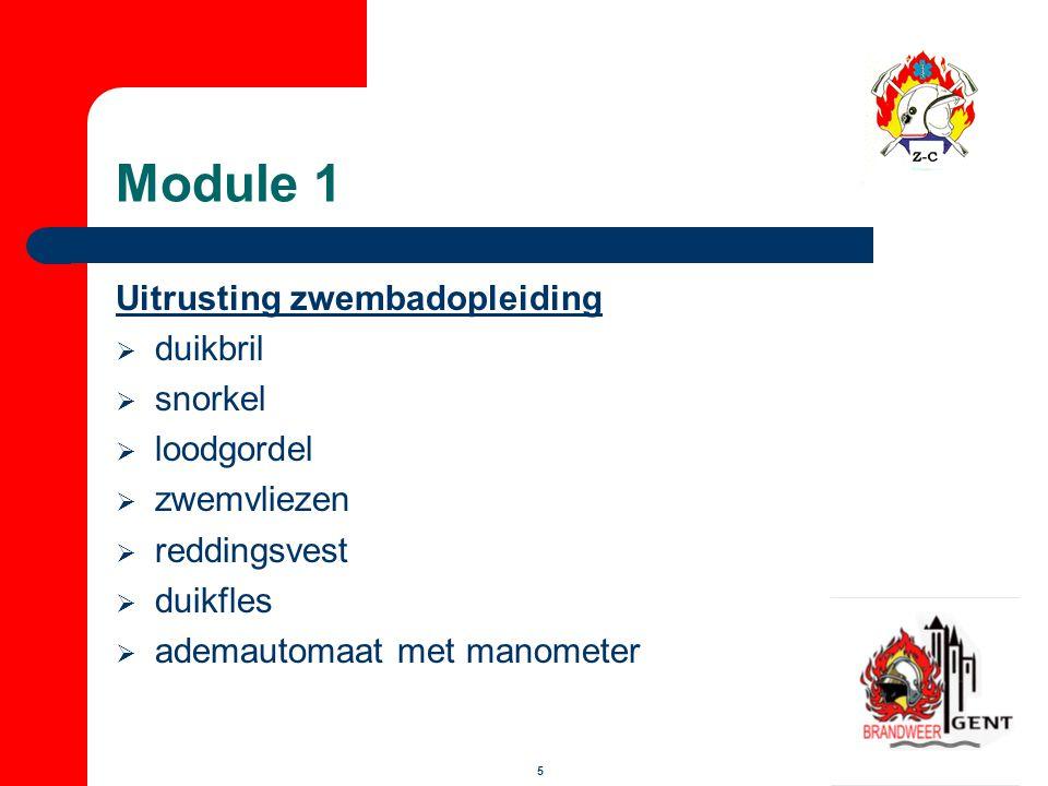 Module 1 Uitrusting zwembadopleiding duikbril snorkel loodgordel