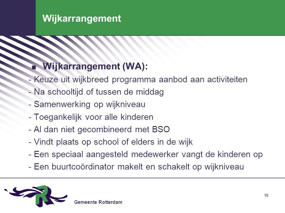 Wijkarrangement Wijkarrangement (WA):