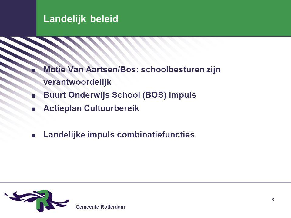 Landelijk beleid Motie Van Aartsen/Bos: schoolbesturen zijn verantwoordelijk. Buurt Onderwijs School (BOS) impuls.