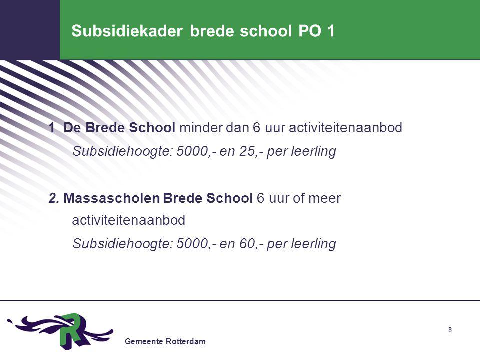 Subsidiekader brede school PO 1