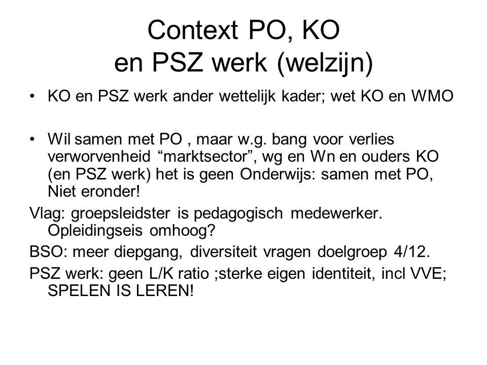 Context PO, KO en PSZ werk (welzijn)