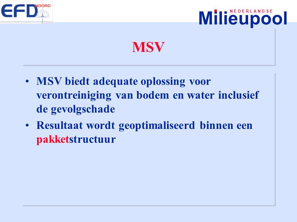 MSV MSV biedt adequate oplossing voor verontreiniging van bodem en water inclusief de gevolgschade.