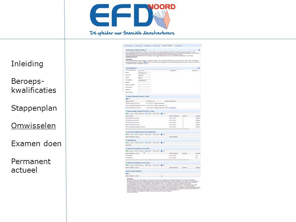 Inleiding Beroeps-kwalificaties Stappenplan Omwisselen Examen doen Permanent actueel