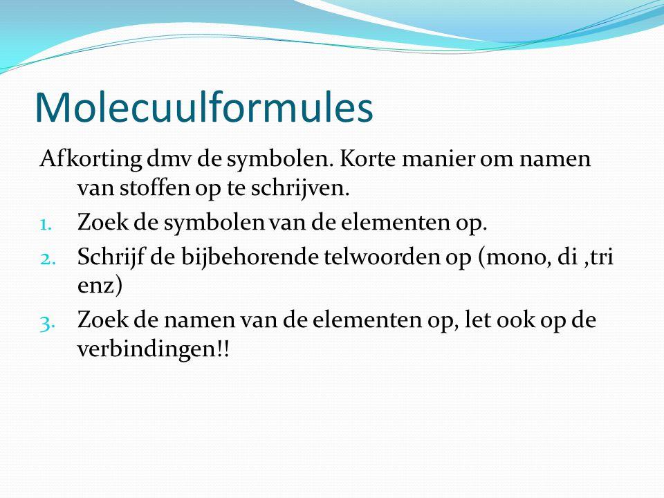 Molecuulformules Afkorting dmv de symbolen. Korte manier om namen van stoffen op te schrijven. Zoek de symbolen van de elementen op.