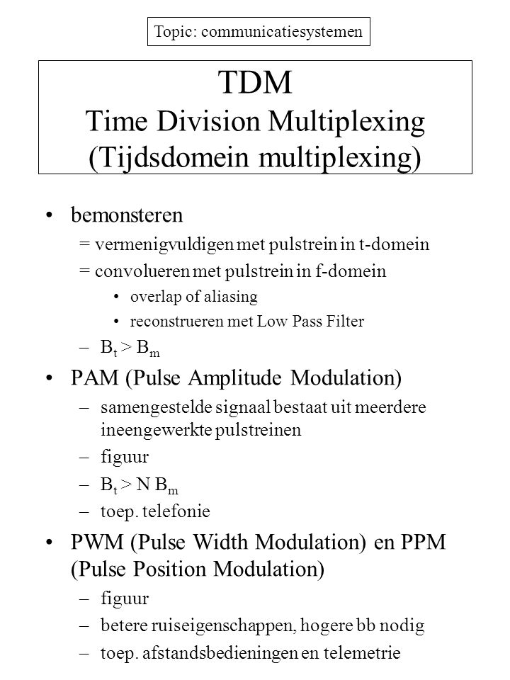 TDM Time Division Multiplexing (Tijdsdomein multiplexing)