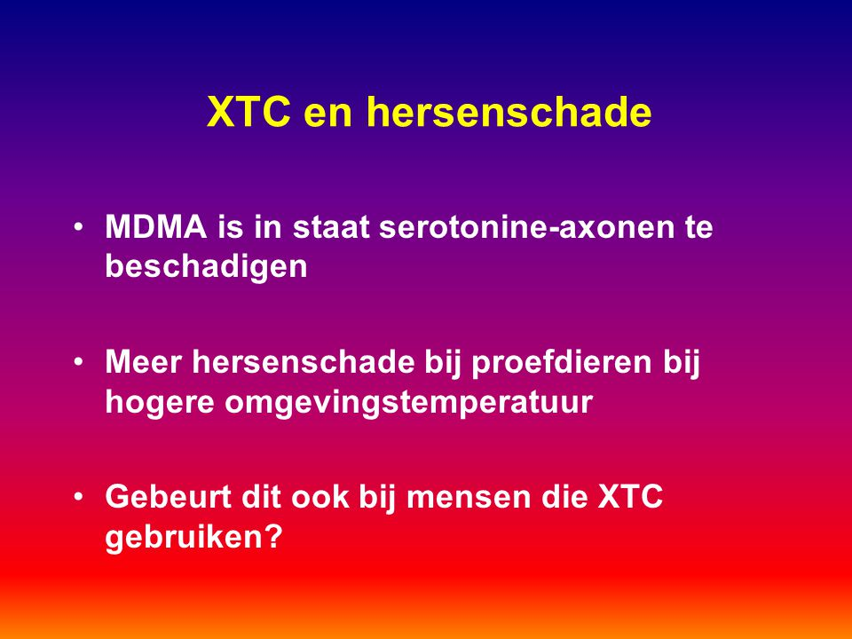 XTC en hersenschade MDMA is in staat serotonine-axonen te beschadigen