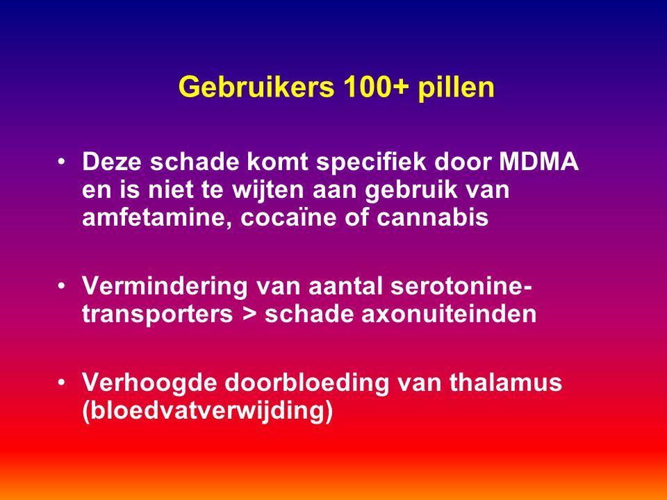 Gebruikers 100+ pillen Deze schade komt specifiek door MDMA en is niet te wijten aan gebruik van amfetamine, cocaïne of cannabis.