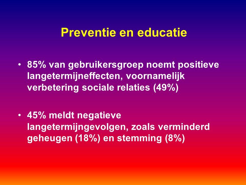Preventie en educatie 85% van gebruikersgroep noemt positieve langetermijneffecten, voornamelijk verbetering sociale relaties (49%)