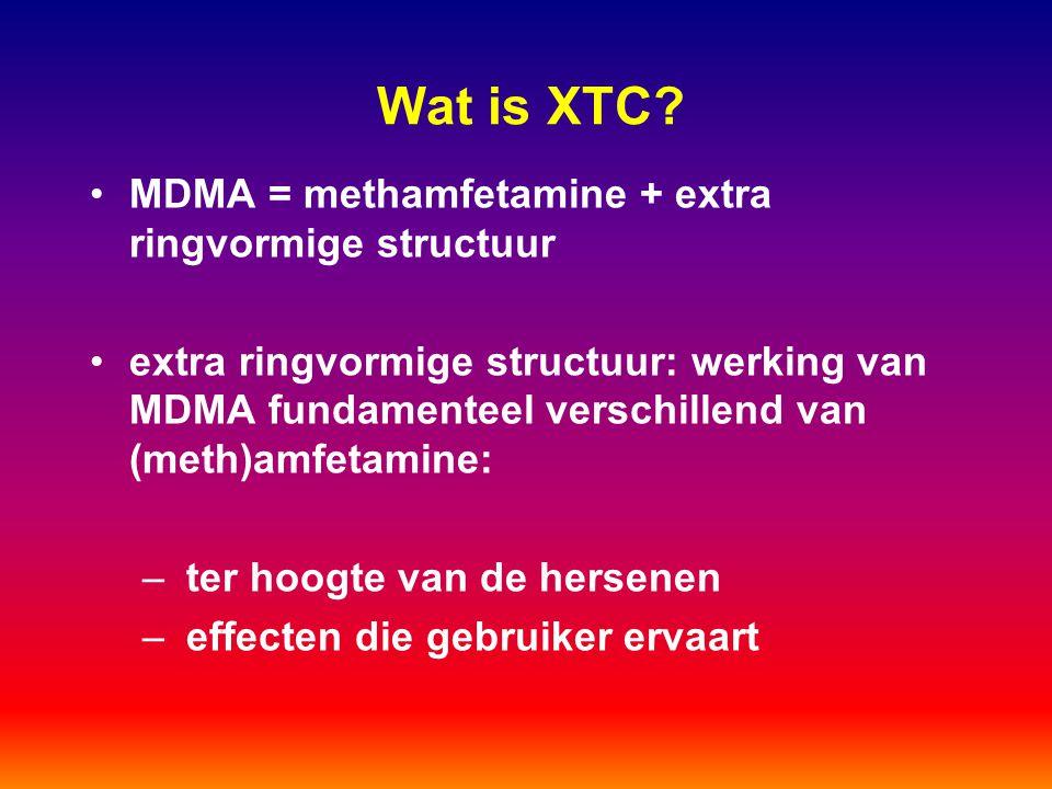Wat is XTC MDMA = methamfetamine + extra ringvormige structuur