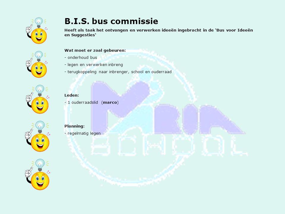 B.I.S. bus commissie Heeft als taak het ontvangen en verwerken ideeën ingebracht in de 'Bus voor Ideeën en Suggesties'