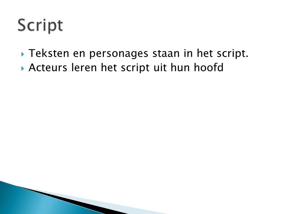 Script Teksten en personages staan in het script.