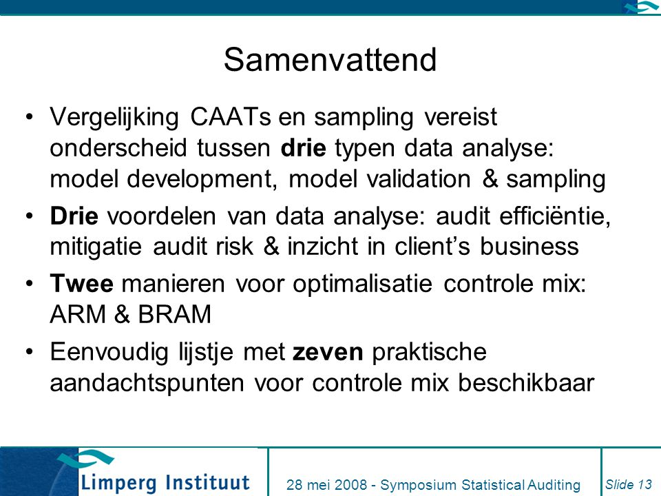 28 mei 2008 - Symposium Statistical Auditing