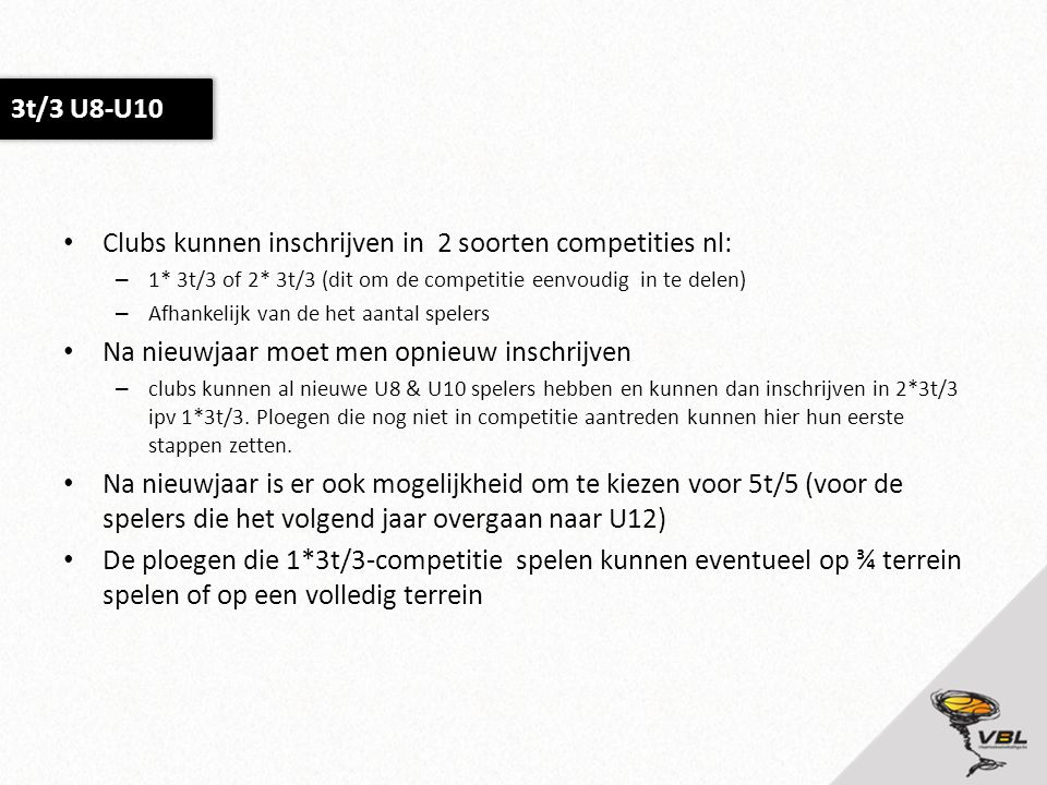 Clubs kunnen inschrijven in 2 soorten competities nl: