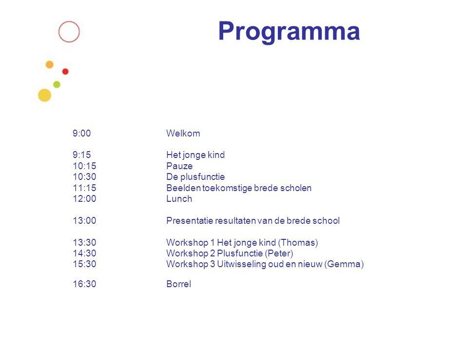 Programma 9:00 Welkom 9:15 Het jonge kind 10:15 Pauze